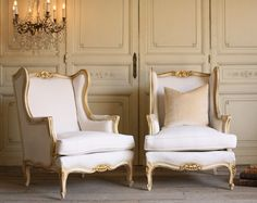 Vintage Shabby Pair Cream Gilt Louis XV French Style Bergere Chairs