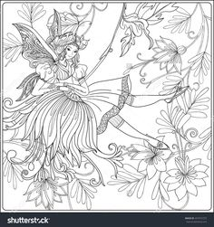 Fairy With Butterfly Wings On Swing On Medieval Floral Pattern Background. Vector Illustration. Coloring Book For Adult And Older Children. Outline Drawing Coloring Page. Girl In A Fairy Costume. - 457672723 : Shutterstock