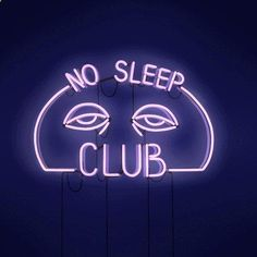 This Neon sign is perfect for any No Sleep Club Neon Sign Glass Tube Neon Light fan! This sign feature multi-colored, hand blown neon tubing. The glass tubes are supported by a black finished metal gr Dark Purple Aesthetic, Violet Aesthetic, Neon Aesthetic, Aesthetic Space, Bedroom Wall Collage, Photo Wall Collage, Picture Wall, Neon Azul, Neon Sign Bedroom