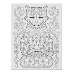 Zen Cat Coloring Poster - Colorable Cat Art Poster - black and white gifts unique special b&w style