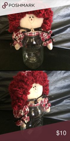 Selling this Handcrafted Raggedy Ann Canister/ Mason Jar on Poshmark! My username is: rileyreghan. #shopmycloset #poshmark #fashion #shopping #style #forsale #Other