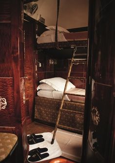Sleeper car on the Orient express. Decadent.