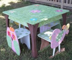 Childrens Table and 2 Chair SET Bird Owl Themed by spoiltrottn, $299.00