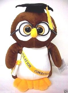 "Congratulation GRADUATION OWL 9"" Plush toy Diploma Cap glasses Stuffed Animal #CharmingToy"