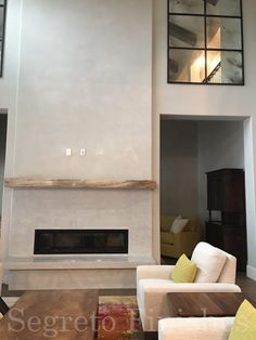 Terrific Pic plaster Fireplace Makeover Thoughts There are a lot of interesting fire place renovate tips in case you are looking at the most beneficial models which will Stucco Fireplace, Tall Fireplace, Brick Fireplace Makeover, Concrete Fireplace, Home Fireplace, Fireplace Surrounds, Fireplace Design, Fireplaces, Fireplace Ideas
