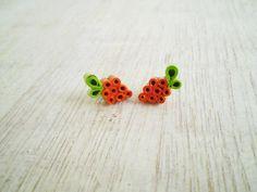 Orange Green Paper Stud Earrings Minimal by LeftysHandcrafts, €8.00