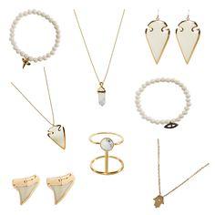 Winter White Jewelry. #winterwhites shop now at biancamilov.com/shop. #arrowheadnecklace #arrowheadearrings #sharktoothjewelry #hamsanecklace #evileyebracelet #howlitejewelry #rings #necklaces #bohemianjewelry #holidaygifts #beadedbracelets