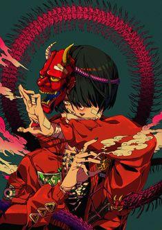 Fantasy Character Design, Character Design Inspiration, Character Art, Vaporwave, Black Cartoon Characters, Samurai Art, Masks Art, Demon Slayer, Character Portraits