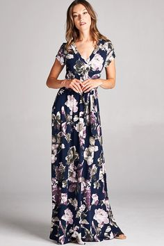 Fields of Lavender Floral Wrap Maxi Dress - ShopLuckyDuck