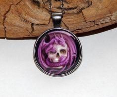 Dragon and skull pendant necklace jewelry glass от ViaLatteaArt