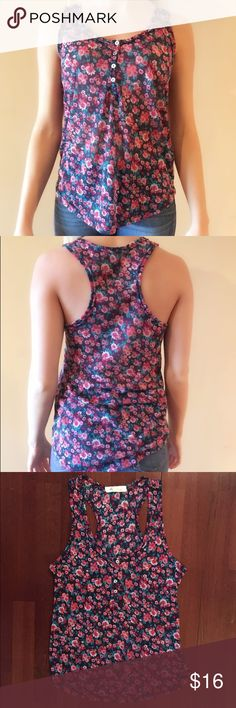 floral racerback tank So cute!  I only wore this a couple of times.  It's in perfect condition.  No flaws or damage. Forever 21 Tops Tank Tops