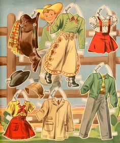 Cowboy and cowgirl paper dolls.