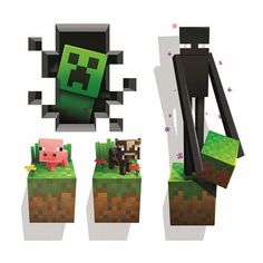 Minecraft Creatures Wall Clings Decal 4-Pack - Jinx - Minecraft - Wall Murals at Entertainment Earth