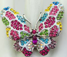 Colorful Butterfly Cocktail Ring/Statement by victoriascharms