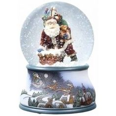 Roman Pack of 2 Musical Santa Claus & Chimney Christmas Snow Globe Glitterdomes
