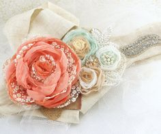 Bridal Sash love!!!!! - Wedding Sash in Coral, Blush, Mint, Ivory, Tan and Gold with Lace, Burlap, Pearls and Jewels- Shabby Chic