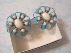 Vintage Retro Milk Glass & Blue Open Metalwork Earrings Clip-on Estate Jewelry #Unbranded #Cluster