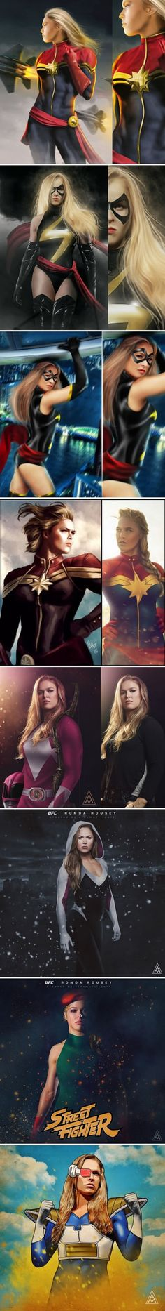 Artists Reimagine Ronda Rousey As Captain Marvel And More Characters (By Alexmurilloart, Bosslogix & Salman.artworks) Artists Reimagine Ronda Rousey As Captain Marvel And More Characters (By Alexmurilloart, Bosslogix & Salman. Marvel Dc, Marvel Comics Art, Marvel Girls, Comics Girls, Captain Marvel Carol Danvers, Miss Hulk, Cosplay, Ronda Rousey, Comic Character