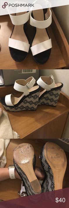 Zara Trafaluc Printed Wedges Hardly worn. No scuffs or damages. Slight knick on leather where buckle is. Did not come with box. Zara Shoes Wedges