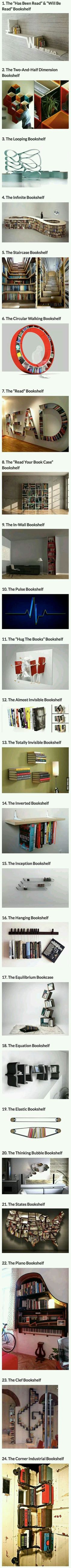 We have rounded up some cool and creative bookshelves that geeks would love. << I love the infinity and staircase bookshelves! I would want the staircase and invisible shelves. Creative Bookshelves, Decorating Bookshelves, Floating Bookshelves, Ideias Diy, Book Nooks, Reading Nooks, My New Room, My Dream Home, Book Lovers