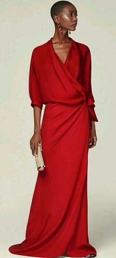 RED Cache-caeur silk top - New Collection CH Carolina Herrera Dress Skirt, The Dress, Wrap Dress, Carolina Herrera Dresses, Crepe Skirts, Mode Chic, Gala Dresses, Looks Style, Dress To Impress