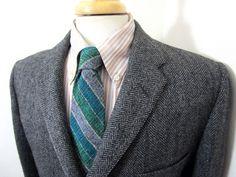 Vtg 50s Herringbone Tweed blazer 40 R ~ HSM jacket UNION MADE ~ MINT sport coat | eBay