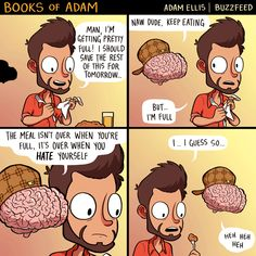 """booksofadam: """" happy thanksgiving y'all (shout out to louis ck, who said it… Wtf Funny, Funny Cute, Funny Memes, Hilarious, Cute Comics, Funny Comics, Adam Ellis Buzzfeed, Adam Ellis Comics, Funny Comic Strips"""