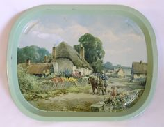Vtg 40s-50s green tin serving tray idyllic rural country scene thatched cottages