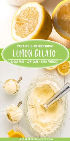 Sugar Free Recipes 99230 A low carb recipe to make your own homemade creamy lemon gelato. This gelato recipe is sugar-free, low carb, and keto friendly. A precooked custard base creates the most wonderful texture in this mellow lemon frozen treat. Desserts Keto, Keto Friendly Desserts, Sugar Free Desserts, Sugar Free Recipes, Low Carb Recipes, Sugar Free Treats, Frozen Desserts, Vegetarian Recipes, Mantecaditos