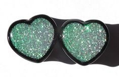 Alice In Iridescent Land Sparkle Heart plugs by GlitzGauge on Etsy, $15.00  soon.