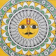 Buy Madhubani Painting - Sungod With Kalamkari Details Online Worli Painting, Saree Painting, Kalamkari Painting, Ganesha Painting, Fabric Painting, Mandala Drawing, Mandala Painting, Mandala Art, Mandala Design