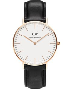 Daniel Wellington Sheffield Rose Ladies Wrist Watch - Classic ladies watch with a black leather strap, white clock face and gold case. Simply lovely!