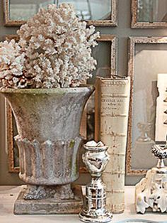 cement tones Coral and urn Greige, Garden Urns, Custom Furniture, French Furniture, French Decor, Vignettes, Decoration, Shabby Chic, Room Decor