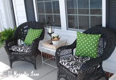 New black damask and polka dot green spring decor for the front porch