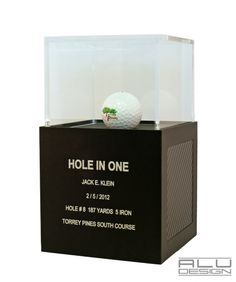 Golf Ball Display Trophy Case Anodized Black Aluminum with Black Carbon Fiber look. Modern Golf Ball Display. Designed and Manufactured in San Diego California USA by ALU DESIGN modern golf accessories #TorreyPines South Course #TorreyPinesHoleInOne #TorreyPinesGolf #golfaccessories #COURSERECORD #LOWROUND #HOLEINONE #1STPLACE #CARBONFIBERDISPLAY