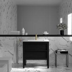 Buy Claridge Black Freestanding Bathroom Vanity Unit 800 by from our Vanity Units range - Matte, Sample Request, Freestanding Vanity Unit - @ Lusso Stone Bathroom Vanity Units Uk, Luxury Bathroom Vanities, Freestanding Vanity Unit, Black Vanity Bathroom, Bathroom Interior, Bathroom Sinks, Bathroom Ideas, Black Bathrooms, Barn Bathroom
