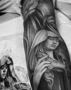 #largescale #backpiece #tattoo #colourtattoo #bodyart #skinartmag #tattoolife #thebesttattooartists #blackandgrey #tattooedlife #inklife #besttattoos #tattooing #inkfreakz #blackandgreytattoo #tattoocommunity #inkedmag #tattooculture #inkaddict #tattoosociety #inkedlife #supportgoodtattooing #fusionproteam #intenzepride #tattoolover #tattoos_alday #thesolidink God Tattoos, Life Tattoos, Black Ink Tattoos, Black And Grey Tattoos, Mother Mary Tattoos, Religion Tattoos, Ink Instagram, Grey Scale, Colour Tattoo