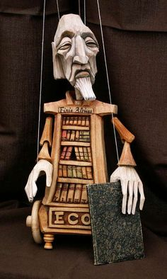 """Previous pinner: """"The Librarian, Marionette."""" -- SH: Not just any librarian, but """"The Librarian"""" from """"The Name of Rose,"""" by Umberto Eco. Czech linden wood marionette is no longer on the site at the click-through page, but can be purchased and found with more photos here: https://www.marionetten-puppen.de/Bibliothekar_Eco-marionette-puppe-mn011.html."""