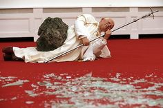Maurizio Cattelan 'La Nona Ora', 1999  (A photorealistic sculpture of the pope struck down by a meteorite - blasphemy turned into sacrifice.) installation at Kunsthalle Basel, Switzerland