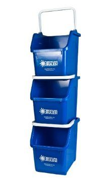 Blue 6 Gal Stackable Recycle Bin With White Handle
