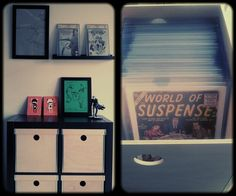Minimal simplistic, comic book and art display. I like the design of the comic book boxes.