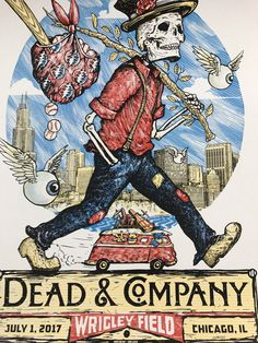 Dead & Company - 2017 Zeb Love poster Wrigley Field, Chicago, IL S/N/AP