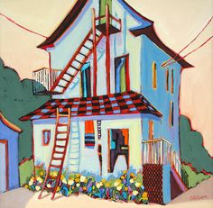 Back of the House - painting by Carolee Clark
