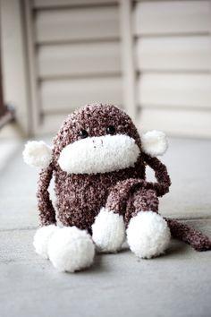 Knit Monkey Stuffed Animal Toy: Jerry the Fluffy Amigurumi Monkey