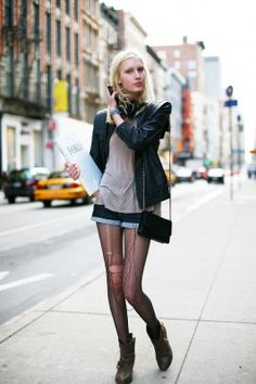 Ripped Tights #tights #hosiery #fashion #oohlalaatights #streetstyle