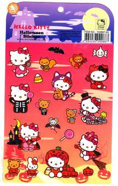 Hello Kitty Halloween stickers Hello Kitty Halloween Costume, Kawaii Halloween, Halloween Diy, Halloween Decorations, Sanrio Hello Kitty, Hello Kitty Pumpkin, School Book Covers, Pumpkin Patch Birthday, Sanrio Danshi