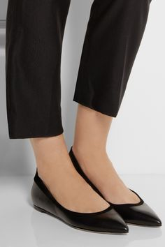Gianvito Rossi|Pointed leather ballet flats|NET-A-PORTER.COM