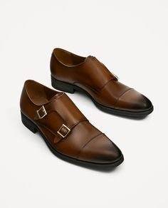 ZARA - MAN - BROWN LEATHER SHOES WITH TWO BUCKLES