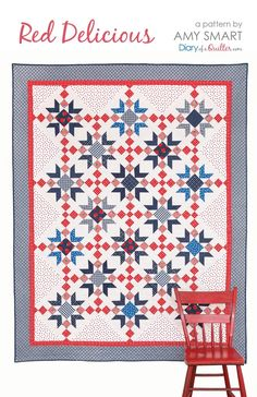 Introducing the second fabric collection by Amy Smart, Sunnyside Ave produced by Penny Rose Fabrics, a division of Riley Blake Designs. Plus brand new quilt pattern, classic stars called Red Delicious. Flag Quilt, Patriotic Quilts, Star Quilt Blocks, Star Quilt Patterns, Modern Quilt Patterns, Star Quilts, Pdf Patterns, Canvas Patterns, Pattern Blocks