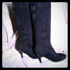 BCBG-ENERATION Black Suede Boots BCBG-ENERATION Black Suede tall boots. Only worn a a few times. 18 in tall from the top to the bottom of the 3 1/2 in heel. Virtually brand new and absolutely beautiful! BCBGeneration Shoes Heeled Boots